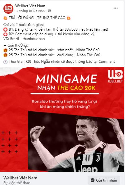 Nhận hàng trăm thẻ cào điện thoại khi tham gia Minigame Wellbet
