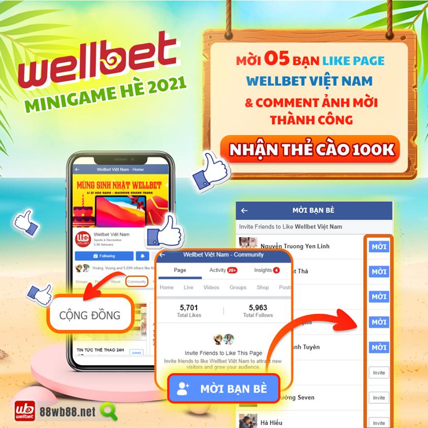 Minigame Wellbet : Chào Hè 2021 - Chọn quà, nhận thẻ cào cực đã